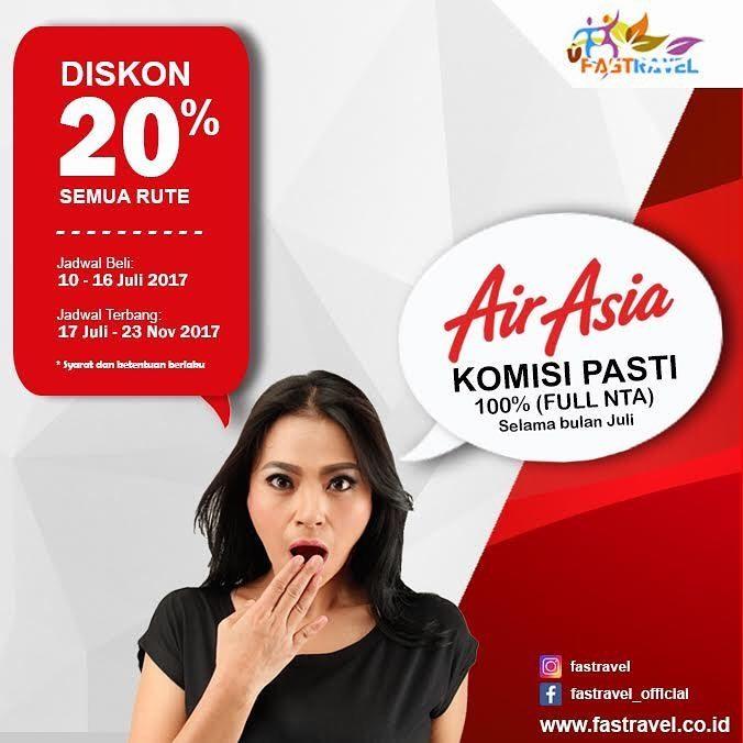 Diskon 20% semua rute penerbangan Air Asia