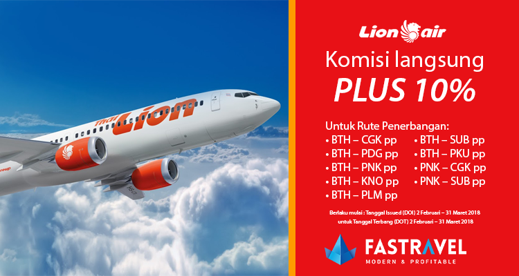Komisi Maskapai Lion Air 10%